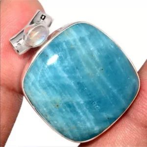 Aquamarine and rainbow moonstone silver pendant